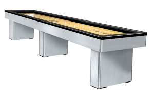 Monarch Shuffleboard Table in Brushed Aluminum at Emerald Spa and Billiards of Grand Rapids, MI